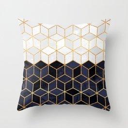 White & Navy Cubes Throw Pillow
