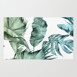 Tropical Palm Leaves Turquoise Green Blue Gradient Rug