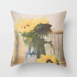 First Sunflowers of Autumn Throw Pillow