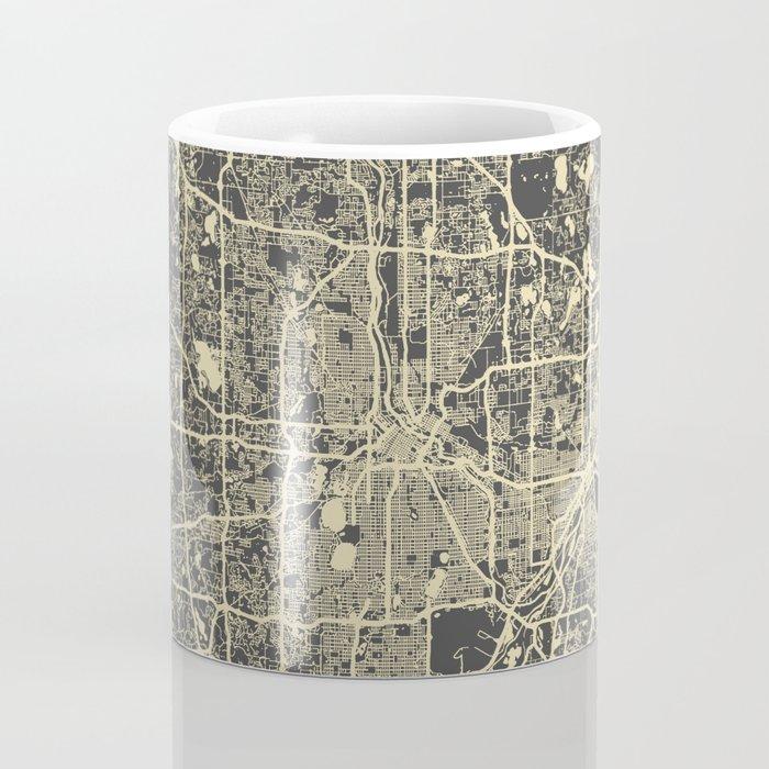 Minneapolis Map yellow Coffee Mug