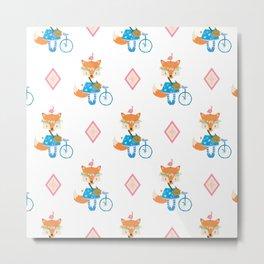 Girl Fox with Pink Diamond Metal Print