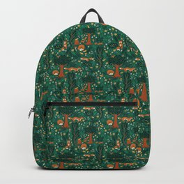 Foxes Playing in the Emerald Forest Backpack
