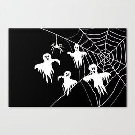 White Ghosts spider web Black background Canvas Print