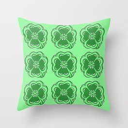 Lucky Clovers Pattern Throw Pillow
