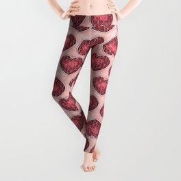 Wine Colored Hearts Leggings