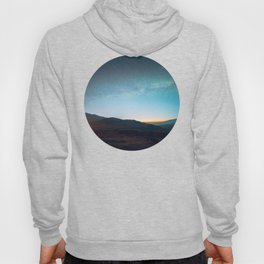 Mid Century Modern Round Circle Photo Graphic Design Mikey Way During Sunset Mountain Silhouette Hoody