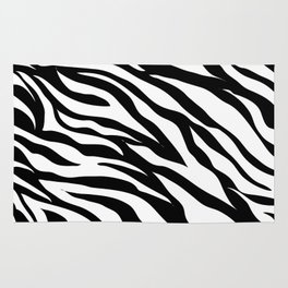 modern safari animal print black and white zebra stripes Rug