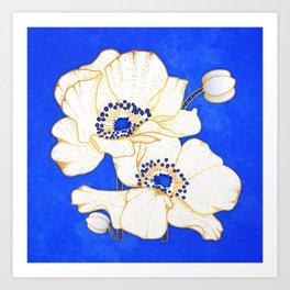 Ultramarine Blue :: Anemones Art Print