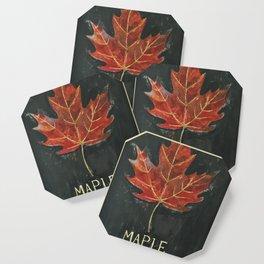 Fall Red Maple Leaf Black Background Coaster