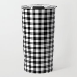 Gingham Black and White Pattern Travel Mug