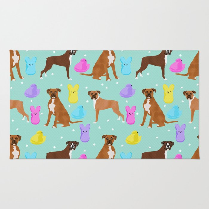 Boxer dog breed marshmallow peeps easter spring traditions cute dog breed gifts boxers Rug