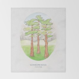 Haruki Murakami's Norwegian Wood // Illustration of a Forest and Mountains in Pencil Throw Blanket