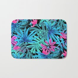 Tropical Leaves Floral Pattern Blue and Pink Bath Mat