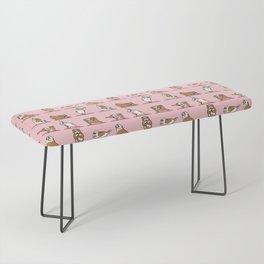 English Bulldog Yoga in Pink Bench