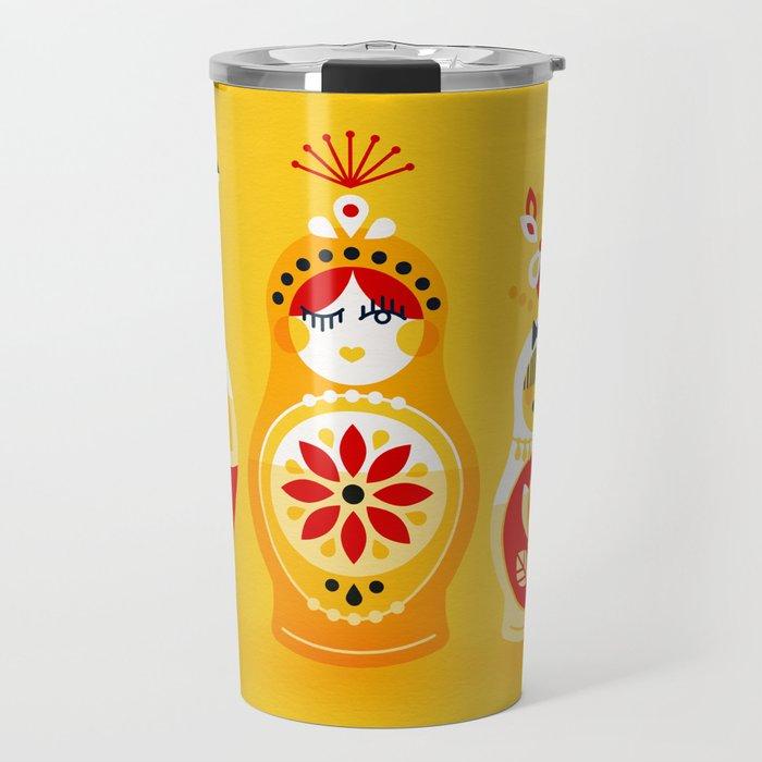 Russian Nesting Dolls – Yellow & Red Travel Mug