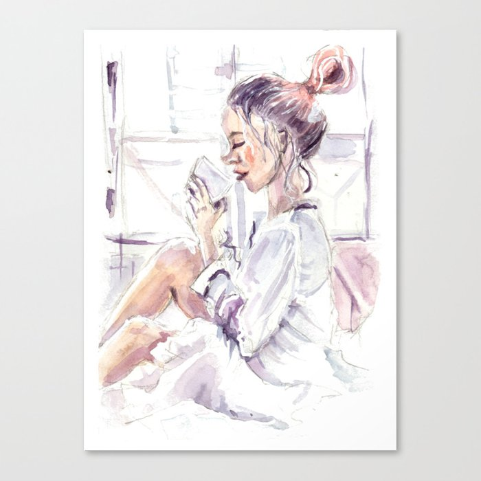 Watercolor Girl With Blue Pink Hair Drinking Tea Near The