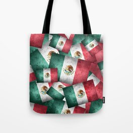 Grunge-Style Mexican Flag Tote Bag