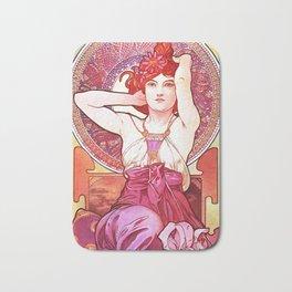 Alphonse Mucha Amethyst Art Nouveau Bath Mat