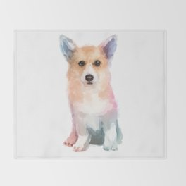 Corgi watercolor Throw Blanket