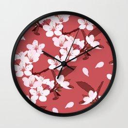 Sakura on red background Wall Clock