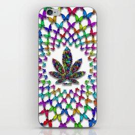 Butterflies Cannabis Leaf 2 iPhone Skin