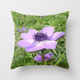 One Delicate Pale Lilac Anemone Coronaria Wild Flower Throw Pillow