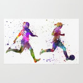 Girls playing soccer football player silhouette Rug