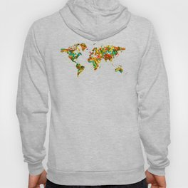 Map of the World watercolor Hoody