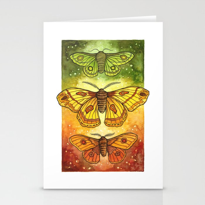 Moth Trio: Autumnal Twilight Stationery Cards
