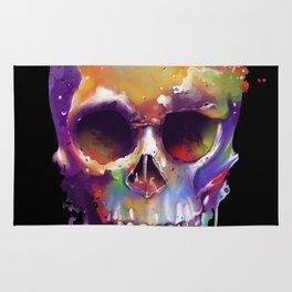 colorful skull black Rug