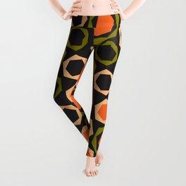 Geometric Pattern #161 (orange hexagons) Leggings