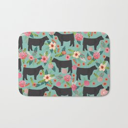 Show Steer cattle breed floral animal cow pattern cows florals farm gifts Bath Mat