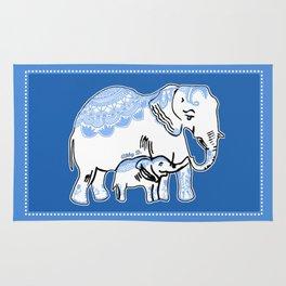 Ornate Elephants Blue and White Rug