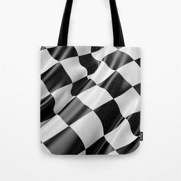 Black and White Waving Racing Flag Tote Bag