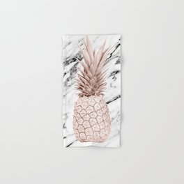 Pineapple Rose Gold Marble Hand & Bath Towel