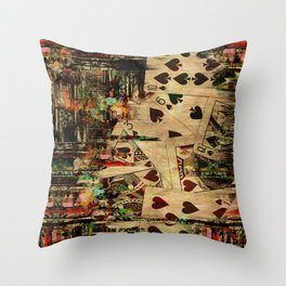 Abstract Vintage Playing cards  Digital Art Throw Pillow