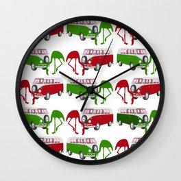 Flamingo RV Park Tropical Christmas Holiday Wall Clock