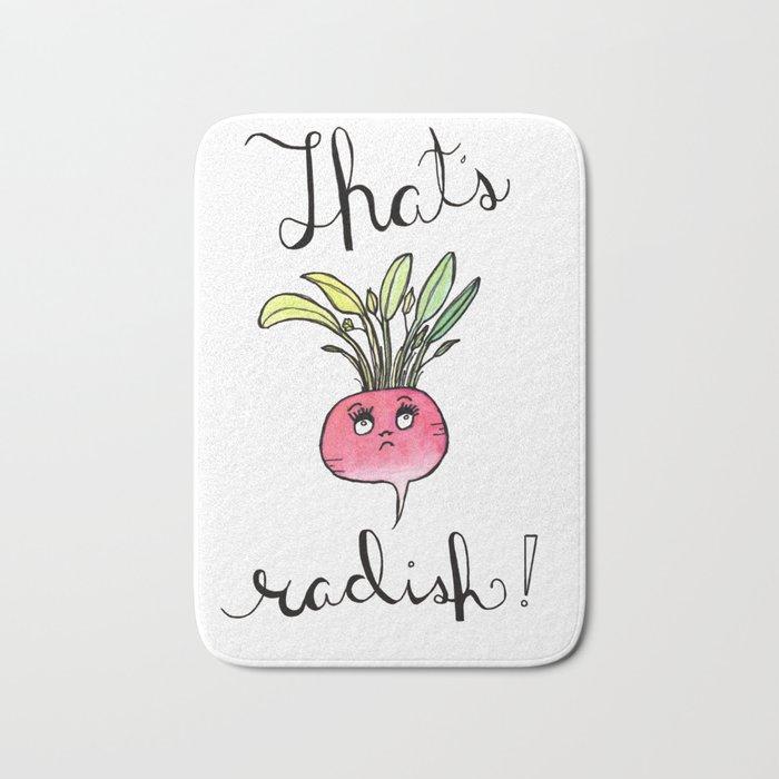 Illustration: That's Radish, food art, kitchen art, radish, puns Bath Mat