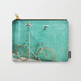 Tall Bike on Aqua Blue Green Carry-All Pouch