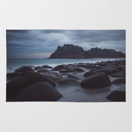 Winter Beach on the Lofoten islands, Noway Rug