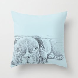 Sweet puppy blue Throw Pillow