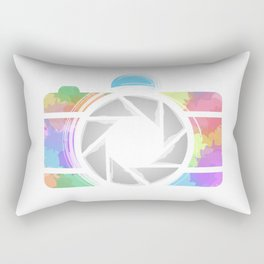 Watercolor Photography camera- Rainbow colored photography lover Rectangular Pillow
