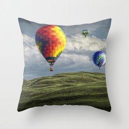 Hot Air Balloons over Green Fields Throw Pillow