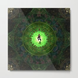 Green Tara Mantra- Protection from dangers and suffering Metal Print