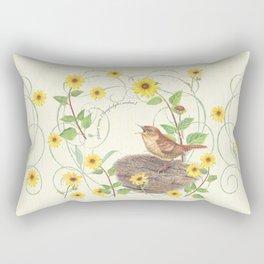 House Wren with sunflower Rectangular Pillow