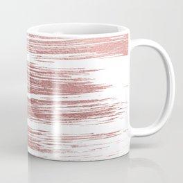 White elegant faux rose gold modern brushstrokes Coffee Mug