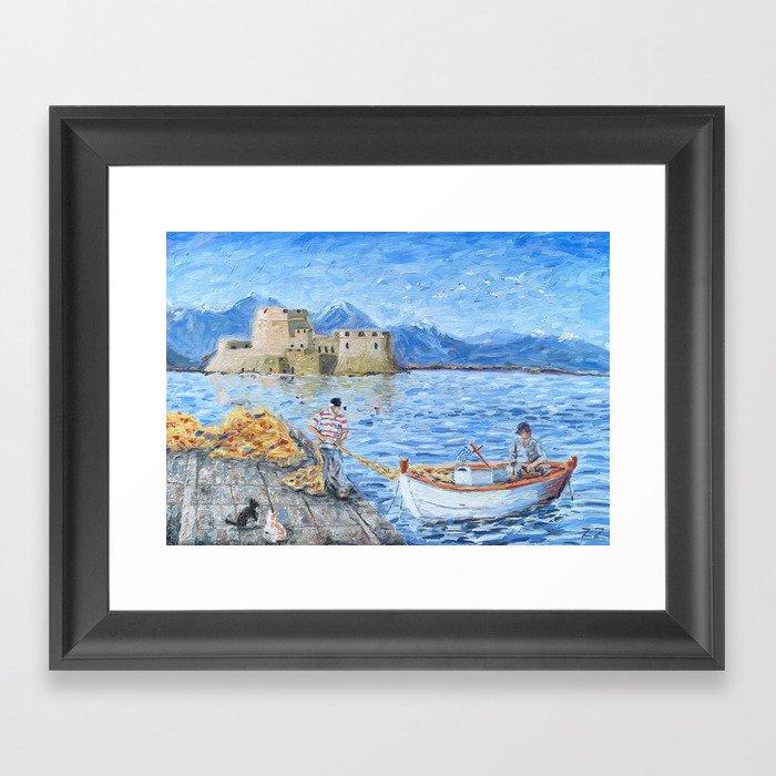Fishermen in Nafplio, Greece Framed Art Print