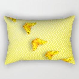 Butterflies on buttercup yellow chevron pattern Rectangular Pillow