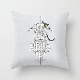 Cat Chicken Motorcycle Art Print Throw Pillow