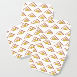 Pink and Yellow Boho Triangles Coaster
